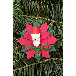Christbaumschmuck Weihnachtsstern mit Weihnachtsmann - 6,5x6,5 cm