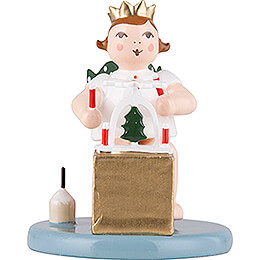 Christmas Angel Sitting with Crown and Pyramid - 6,5 cm / 2.6 inch