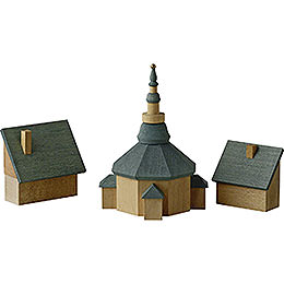 Church of Seiffen with Houses - 11 cm / 4.3 inch