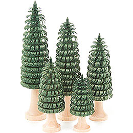 Coiled Trees with Trunk Green - 5 pieces - 11 cm / 4.3 inch