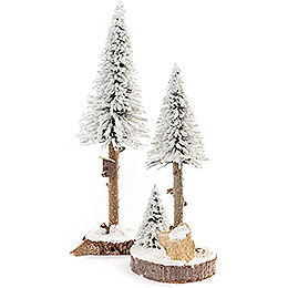 Conifers with Bird House - White - 2 pieces - 27 cm / 10.6 inch