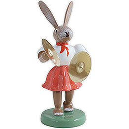 Easter Bunny with Cymbals, Colored - 7,5 cm / 3 inch