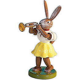 Easter Bunny with Trumpet, Colored - 7,5 cm / 3 inch