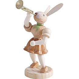 Easter Bunny with Trumpet, Natural - 7,5 cm / 3 inch