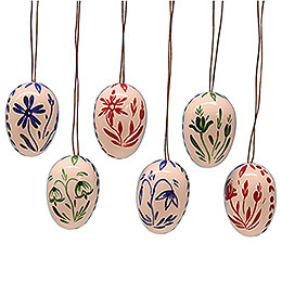 Easter Egg Set White with Flowers - 3,5 cm / 1.4 inch