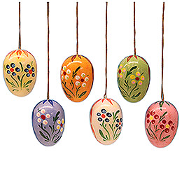 Easter Egg Set with Dot-Flowers - 3,5 cm / 1.4 inch