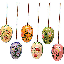 Easter Egg Set with Flowers - 3,5 cm / 1.4 inch