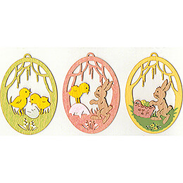 Easter Ornament - Bunnies - Set of 3 - 7 cm / 2.8 inch