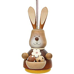 Easter Ornament - Teeter Bunny with Egg-Basket Natural - 9,8 cm / 3.9 inch