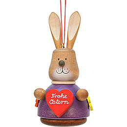 Easter Ornament - Teeter Bunny with Heart - 9,8 cm / 3.9 inch