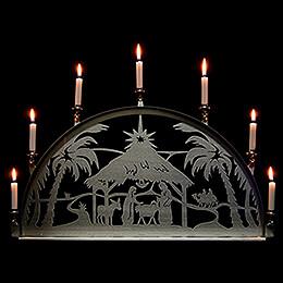 Edelstahl-Schwibbogen mit Edelstahl-Kerzenhaltern für Innen - Christi Geburt - 60x35 cm