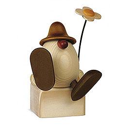 Egghead Alfons with Flower Sitting/Dancing, Brown - 11 cm / 4.3 inch