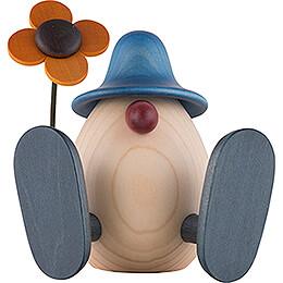 Egghead Erwin with Flower Sitting, Blue - 11 cm / 4.3 inch