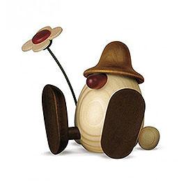Egghead Erwin with Flower Sitting, Brown - 11 cm / 4.3 inch