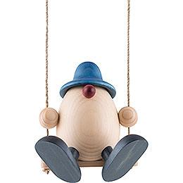 Egghead Father Bruno on Swing, Blue - 15 cm / 5.9 inch