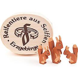 Eichhörnchenfamilie in Spandose - 3 cm