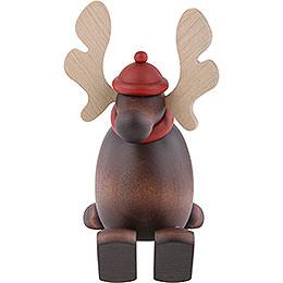 Elch Olaf auf Kante sitzend - 15 cm