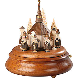 Electronic Music Box - Carolers and Seiffen Church Natural - 19 cm / 7.5 inch