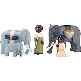 Elefantentreiber 5-teilig farbig - 7 cm