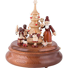 Elektronische Spieldose - Weihnachtsmann und Geschenkeengel natur - 21 cm