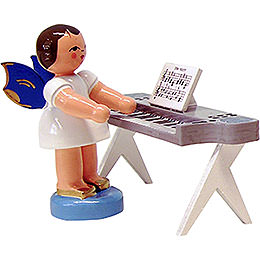 Engel am Keyboard - Blaue Flügel - stehend - 6 cm
