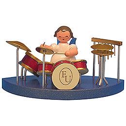 Engel am Schlagzeug passend zu Wolkenstecksystem - Blaue Flügel - stehend - 6 cm