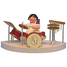 Engel am Schlagzeug passend zu Wolkenstecksystem - Rote Flügel - stehend - 6 cm