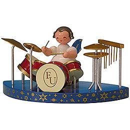 Engel am Schlagzeug passend zu einfachen Wolken - Blaue Flügel - stehend - 6 cm