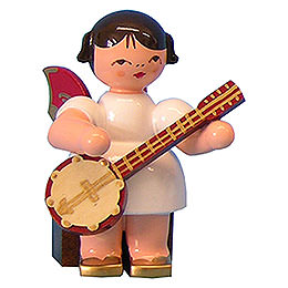 Engel mit Banjo - Rote Flügel - sitzend - 5 cm