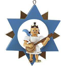 Engel mit Banjo im Stern, farbig - 9 cm