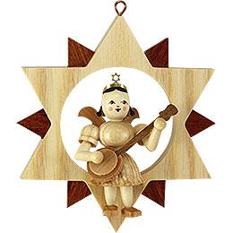 Engel mit Banjo im Stern, natur - 9 cm