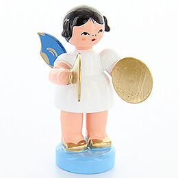 Engel mit Becken - Blaue Flügel - stehend - 6 cm