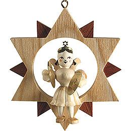 Engel mit Becken im Stern, natur - 9,5 cm