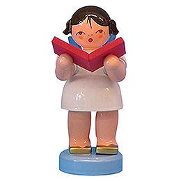 Engel mit Buch - Blaue Flügel - stehend - 6 cm