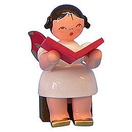 Engel mit Buch - Rote Flügel - sitzend - 5 cm