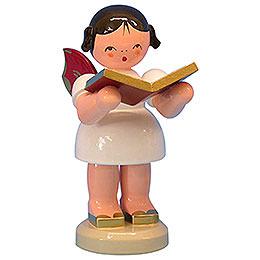 Engel mit Buch - Rote Flügel - stehend - 9,5 cm
