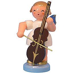Engel mit Cello - Blaue Flügel - stehend - 9,5 cm
