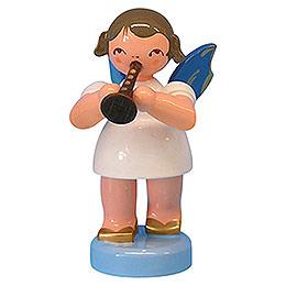 Engel mit Flöte - Blaue Flügel - stehend - 6 cm