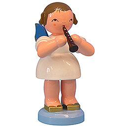 Engel mit Flöte - Blaue Flügel - stehend - 9,5 cm