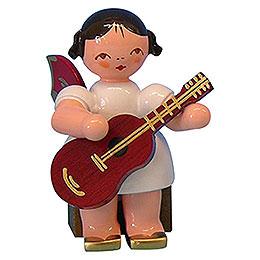 Engel mit Gitarre - Rote Flügel - sitzend - 5 cm