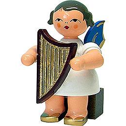 Engel mit Handharfe - Blaue Flügel - sitzend - 5 cm