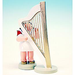 Engel mit Harfe - Rote Flügel - stehend - 9,5 cm