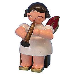 Engel mit Klarinette - Rote Flügel - sitzend - 5 cm