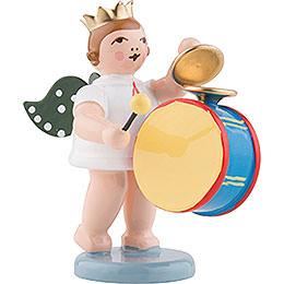 Engel mit Krone und großer Trommel mit Becken - 6,5 cm