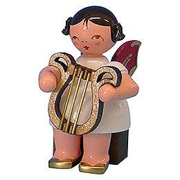Engel mit Leier - Rote Flügel - sitzend - 5 cm