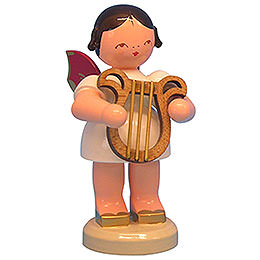 Engel mit Leier - Rote Flügel - stehend - 9,5 cm