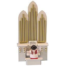 Engel mit Orgel - Rote Flügel - 18,5 cm