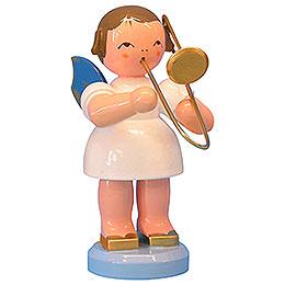 Engel mit Posaune - Blaue Flügel - stehend - 9,5 cm