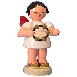 Engel mit Schellenring - Rote Flügel - stehend - 9,5 cm