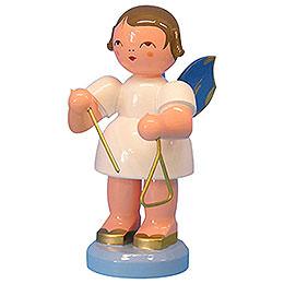 Engel mit Triangel - Blaue Flügel - stehend - 9,5 cm